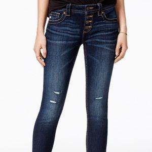 Miss Me Mid-rise Skinny Dark Destroyed Jeans 26x30